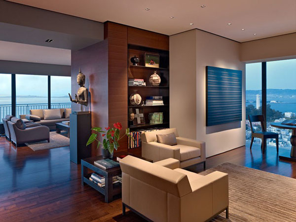 Dazzling luxury apartment designs for Modern apartment living room design