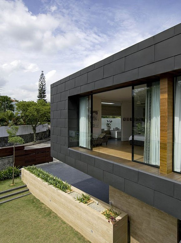 extraordinary black geometric buidling