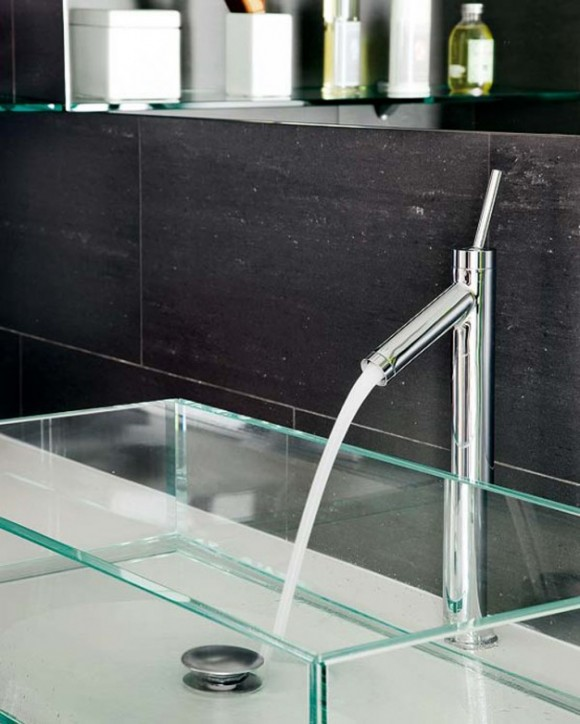 glossy glass wash basin ideas