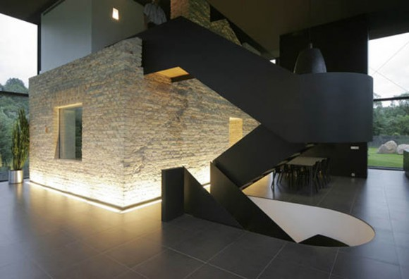 glowing romantic dark glass house
