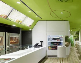 green and clean restaurant interior