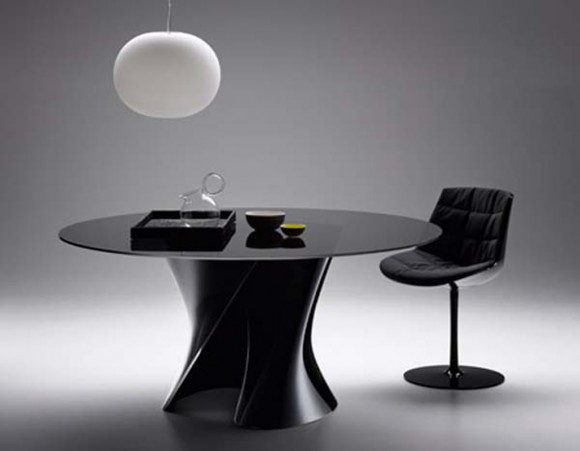 minimalist black dining table