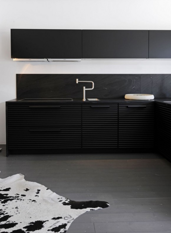 minimalist black kitchen cabinet