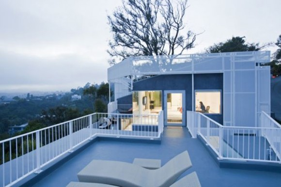pure white penthouse terrace