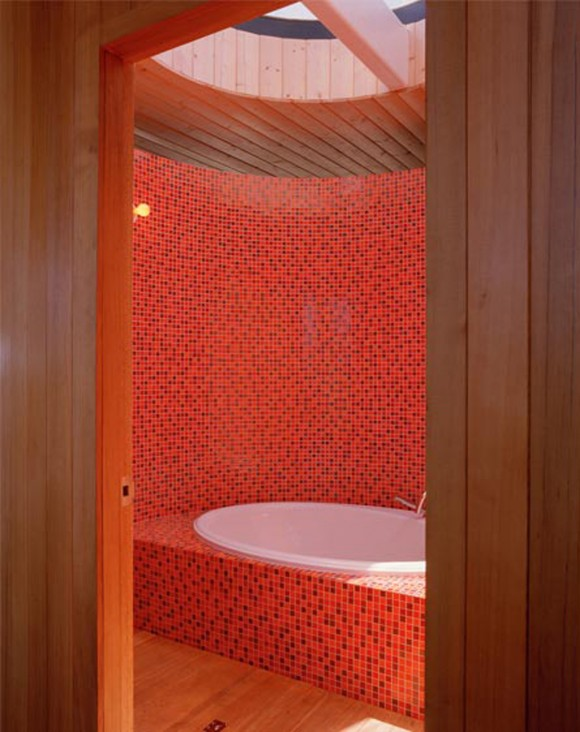 stylish red bathroom space