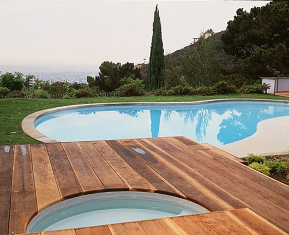 wooden poolside furnishing layouts