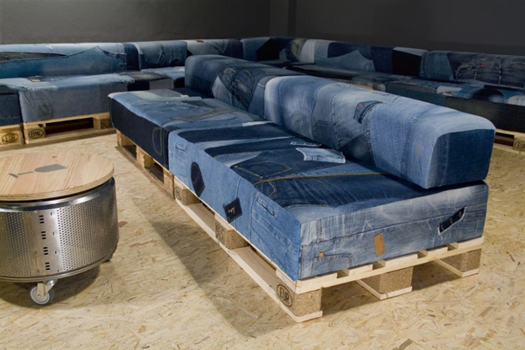 Denim home recycle furniture - Sofa cama de espuma ...