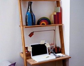 functional wooden staircase workspace