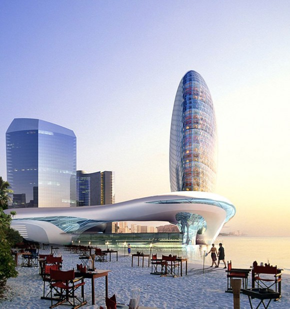 futuristic modern building constructions
