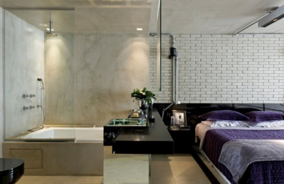 practical bedroom combination with bathroom