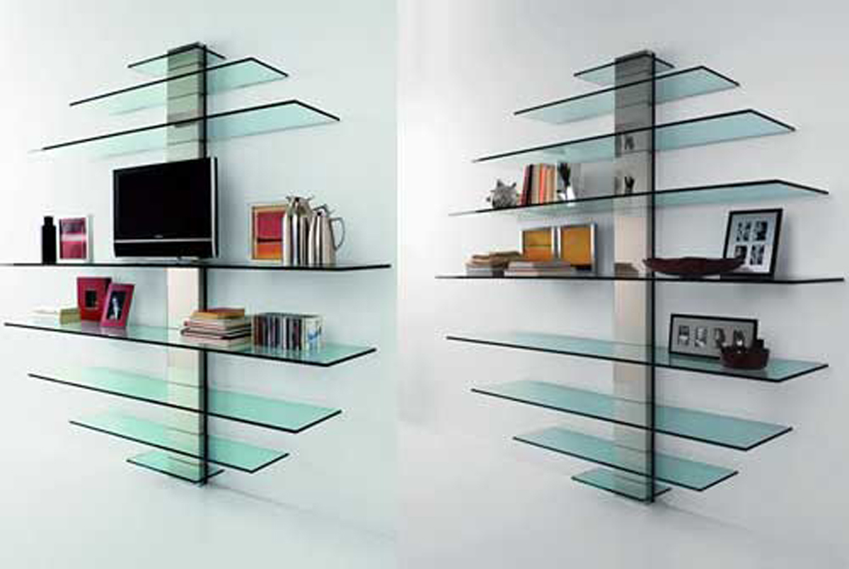 Round glass bookcase layouts for Modern glass designs