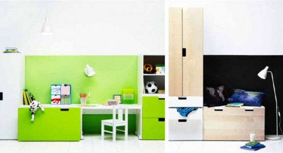 space saving IKEA kids bedroom furniture layouts
