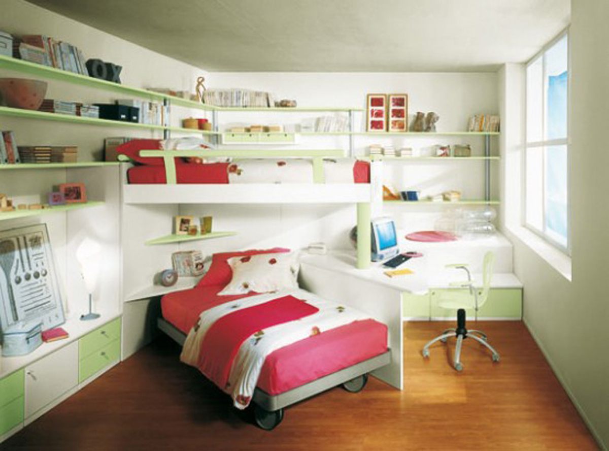 Pretty Pink Girl Bedroom Designs with Space Saving Plans - Iroonie.