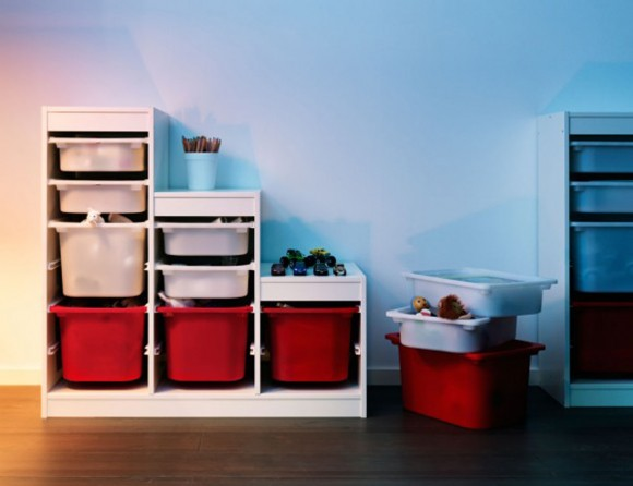 white and red puzzle storage