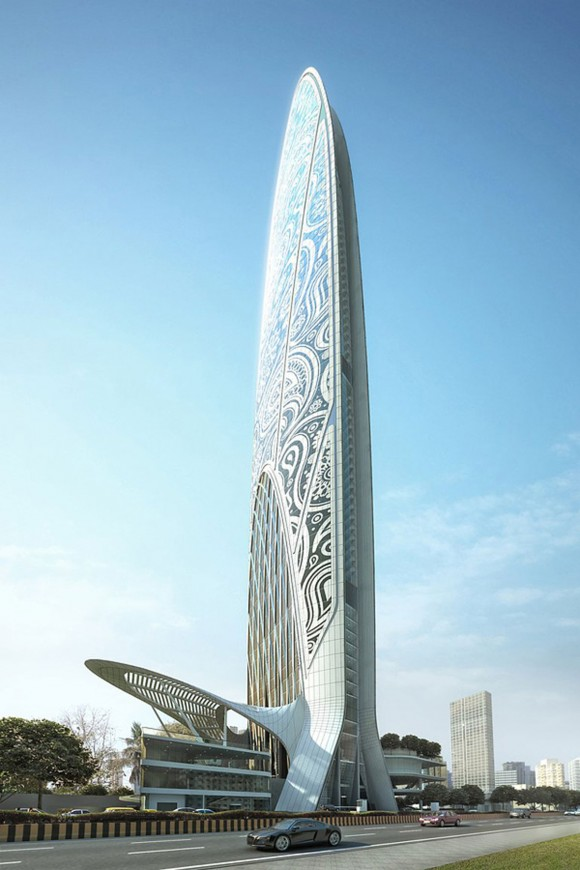 artistic Namaste tower in Mumbai
