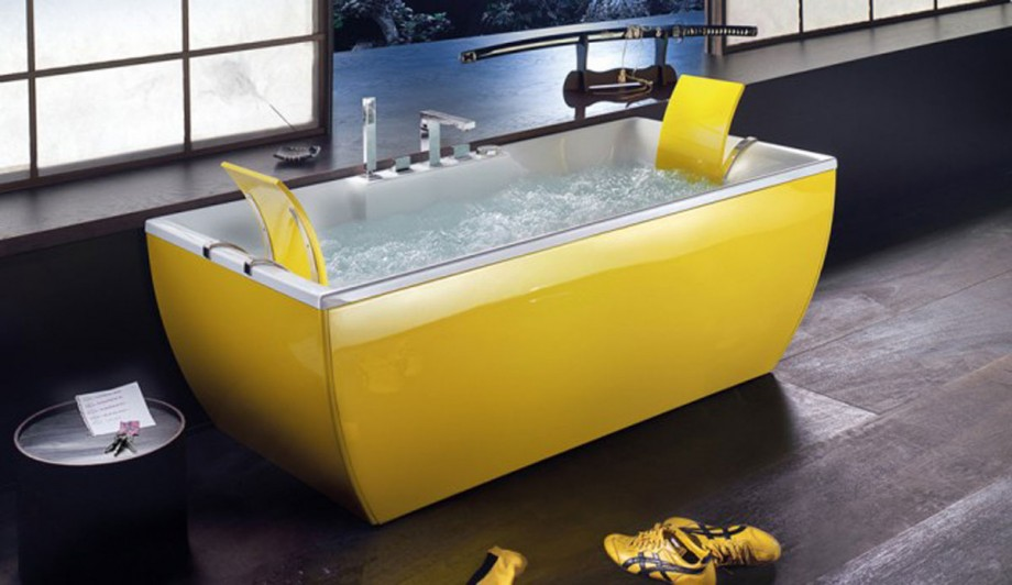 cheerful yellow bathtub style