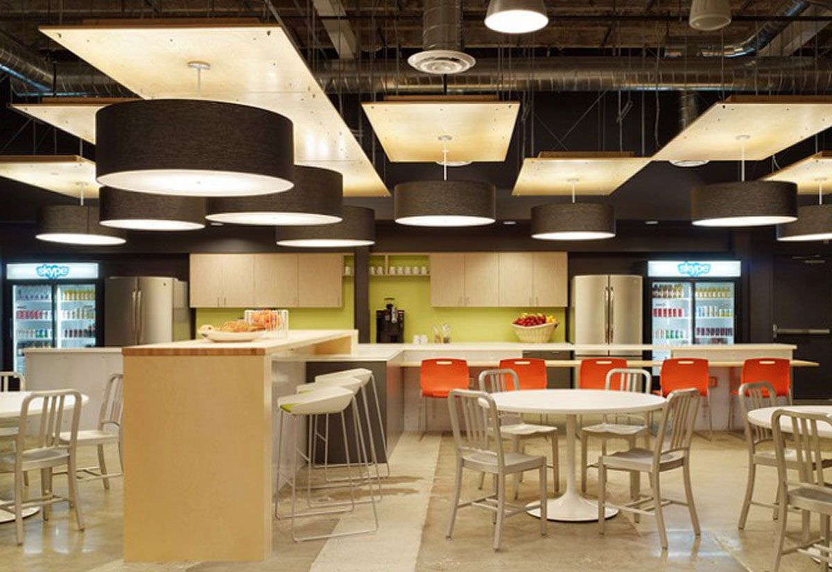 Distinctive skype office designs with modern and neatly for Office kitchen design