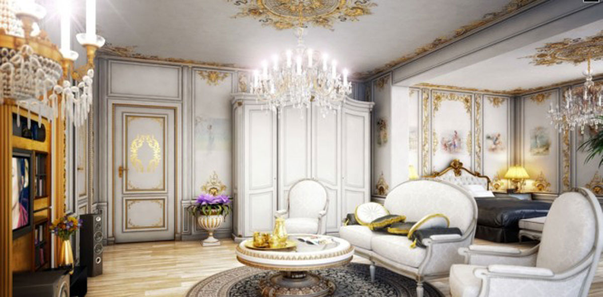 Gold victorian house interior for Victorian house interior designs
