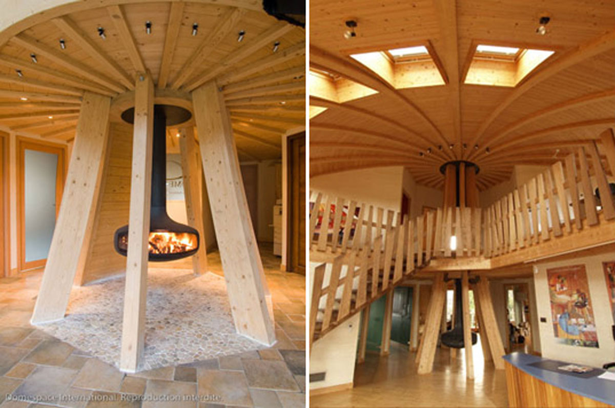 Wooden dome house interior for Home inside design