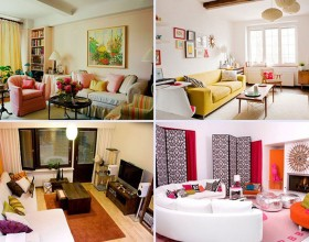 colorful living space furnishing