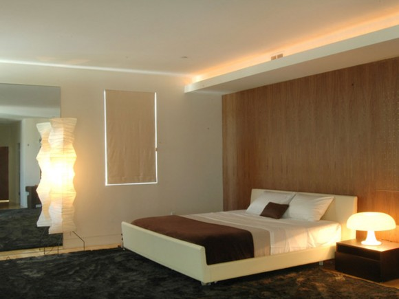 contemporary warm bedroom interior