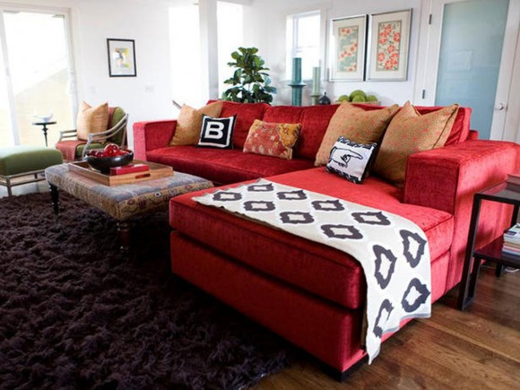 fashionable red sectional sofa