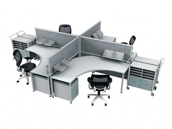 integrated four office table