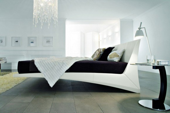modish black and white bedroom