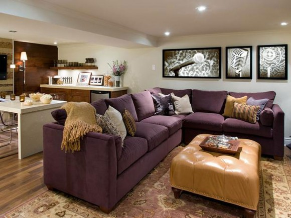modish purple sofa plans