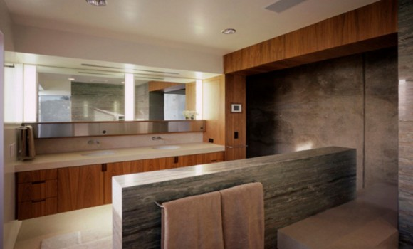 nice wooden concrete bathroom