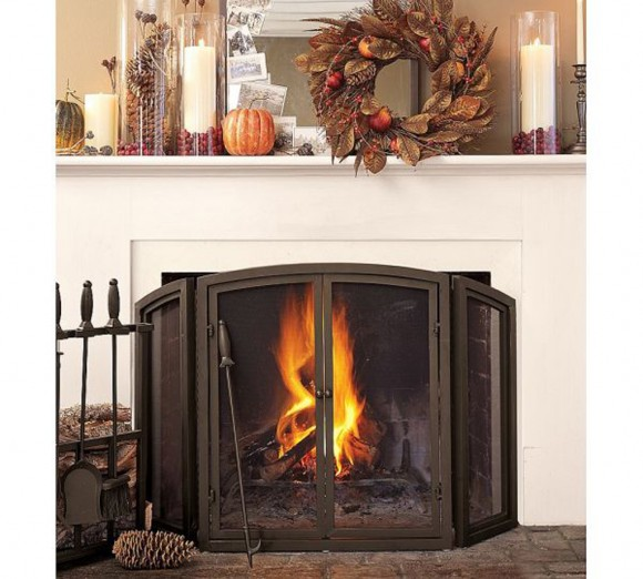 secure christmas fireplace furnishing