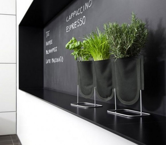 small black pots and planters