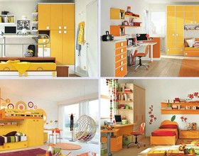 bright shiny yellow kids room