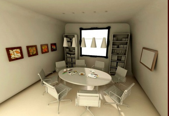 minimal white office meeting room