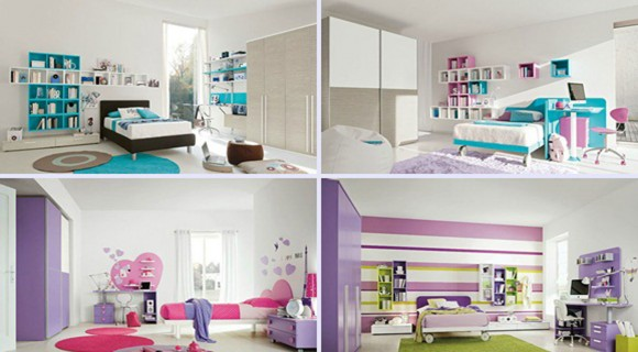 multicolored system kids bedroom interior