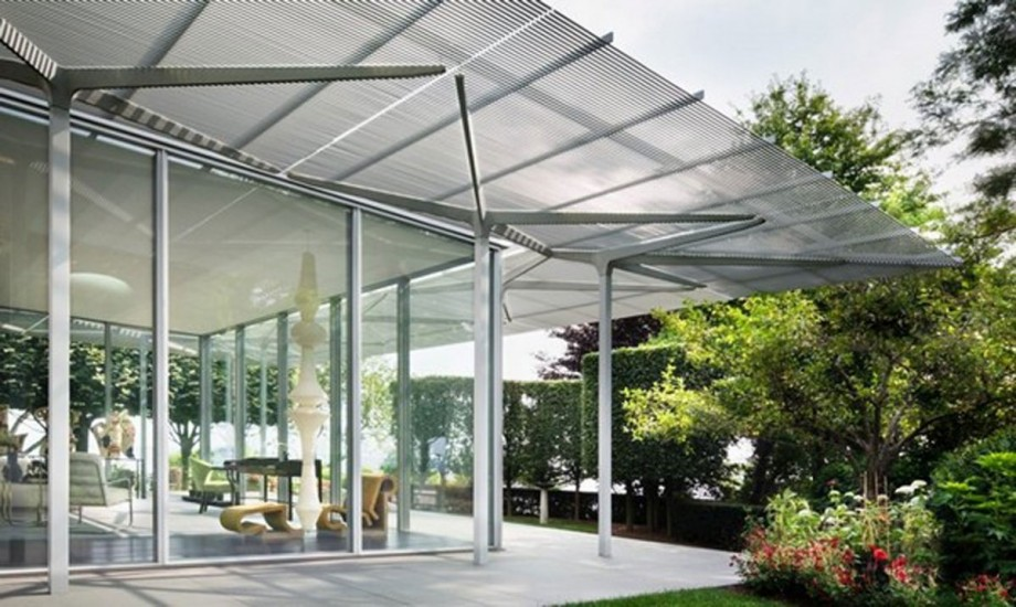 Simple terrace space ideas for Simple glass house design
