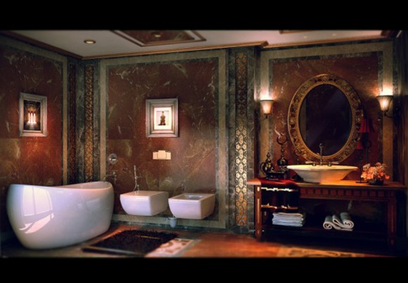 lavish bathroom decorations plans