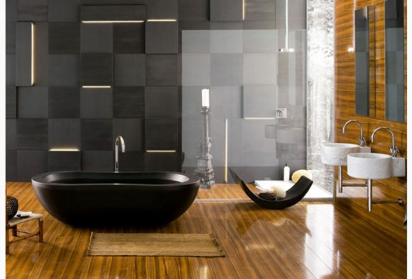 minimal look black bathroom