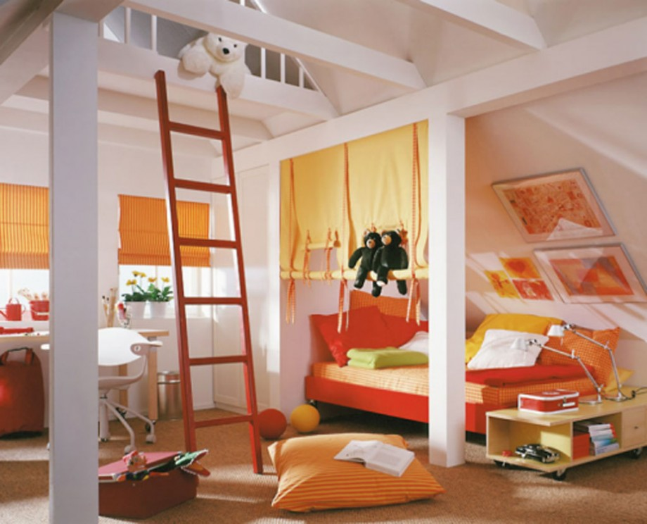 colorful kids bedroom interior