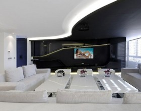 futuristic black and white apartment