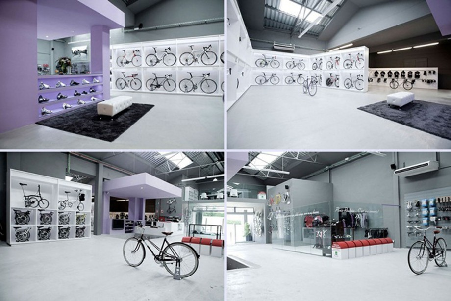 Great interior bicycle store - Fantastic modern architecture in futuristic design with owner passion ...