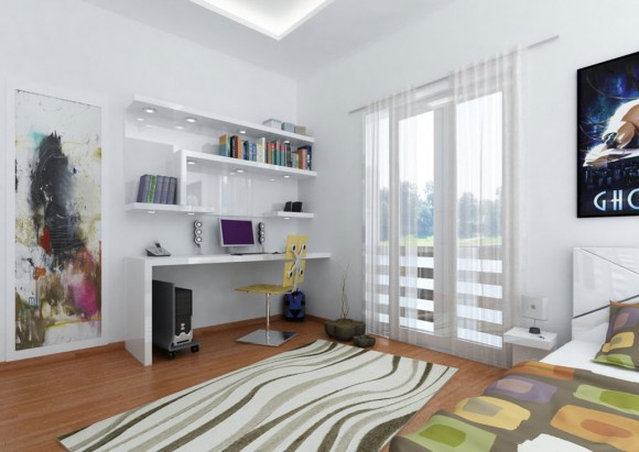 simple white teen room bedroom