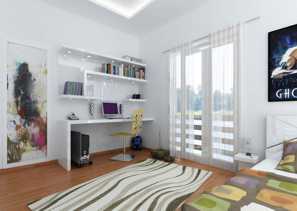 Modern Teen Bedroom Designs with Integrated Study Room