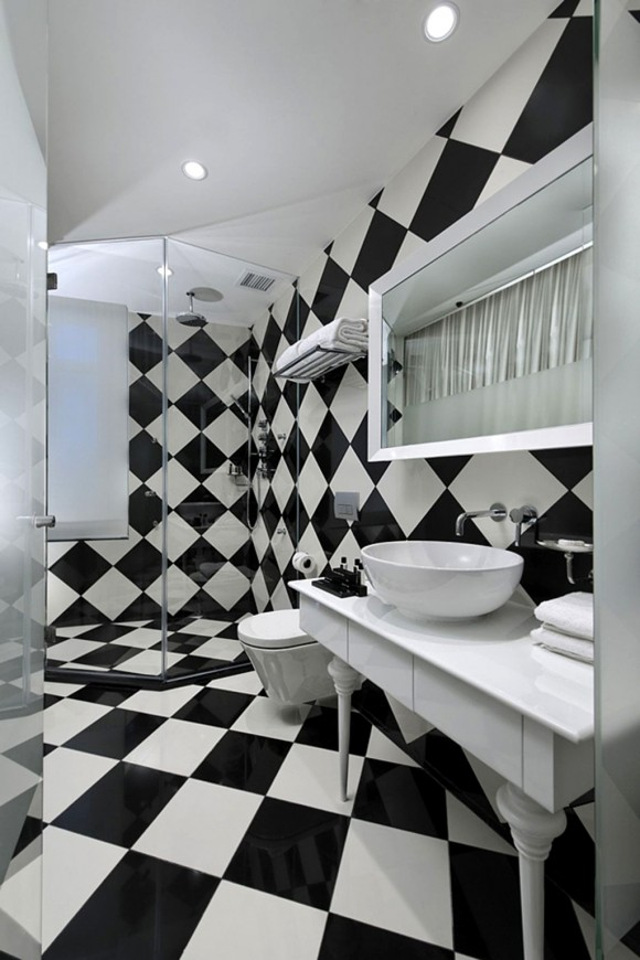 black and white flooring system