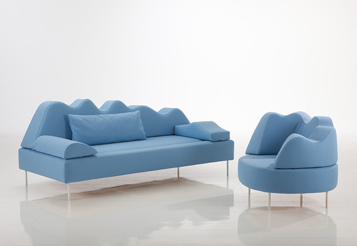 Blue color tone home sofa set for Trendy home furnishings