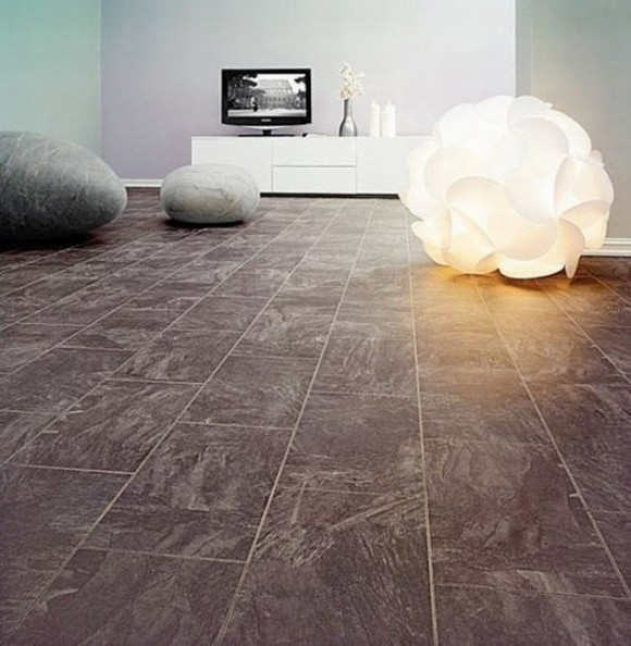 minimalist black river stone floor