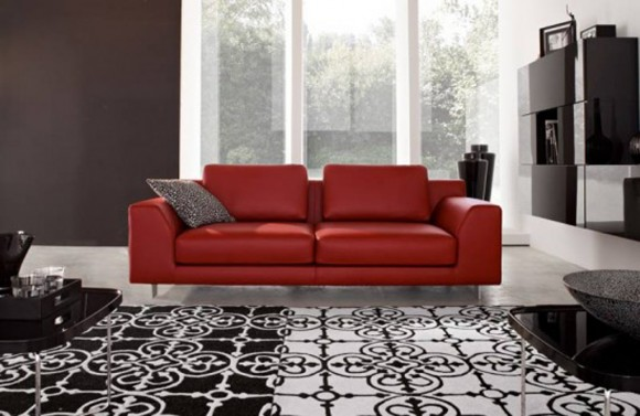 stylish red sofa furniture
