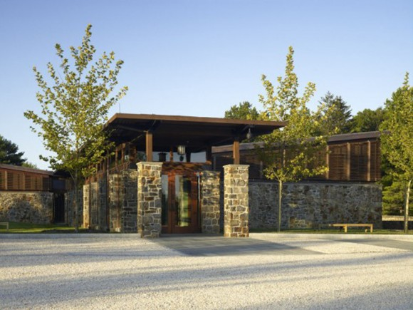 sustainable minimalist wooden stone home designs with