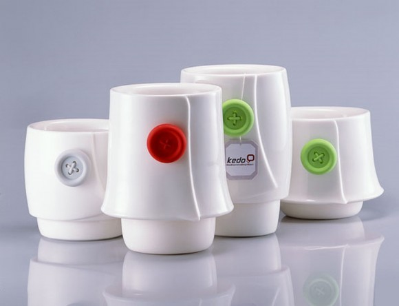 trendy white button cup