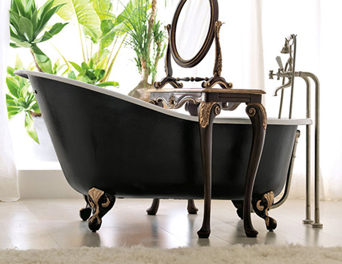 Amazing black free standing bathtub for Gothic bathroom ideas